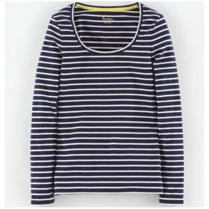 Boden Essential Scoop Neck Long Sleeve Striped Tee